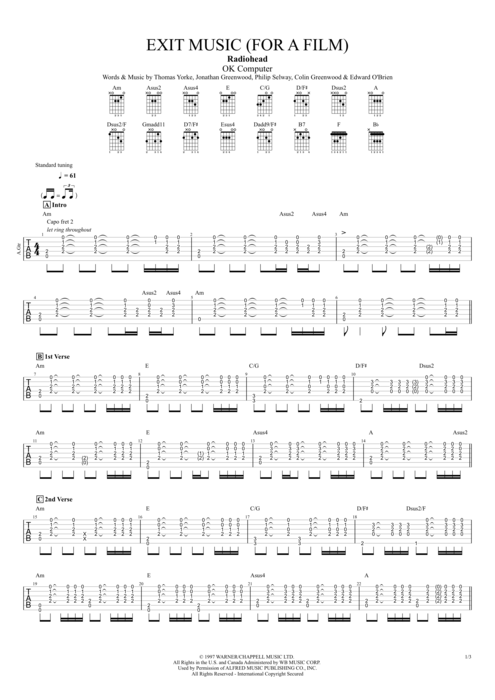 Exit Music (For a Film) by Radiohead - Full Score Guitar Pro Tab ...