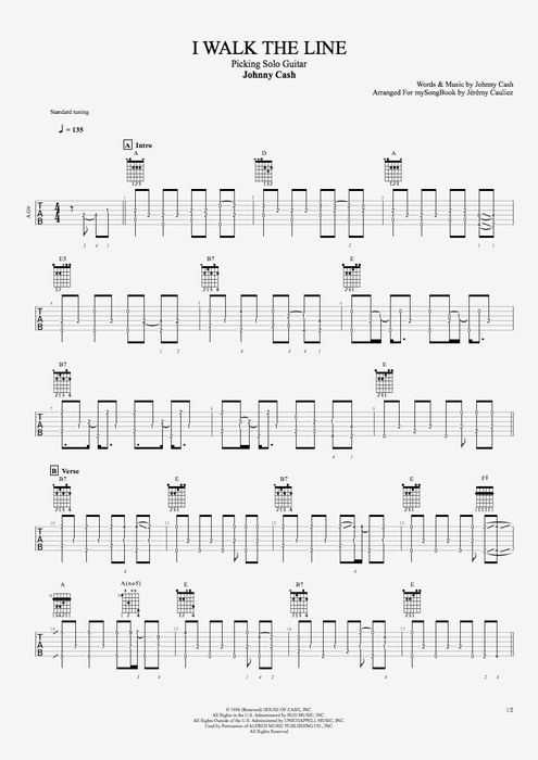 I Walk the Line by Johnny Cash - Picking Solo Guitar Guitar Pro Tab : mySongBook.com