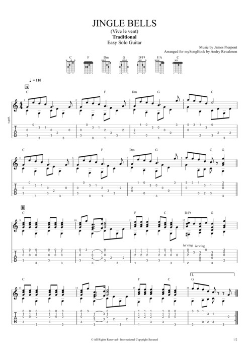 Jingle Bells by Traditional - Easy Solo Guitar Guitar Pro Tab : mySongBook.com
