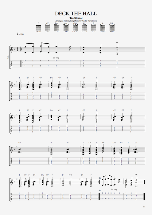 Deck the Halls - Traditional tablature