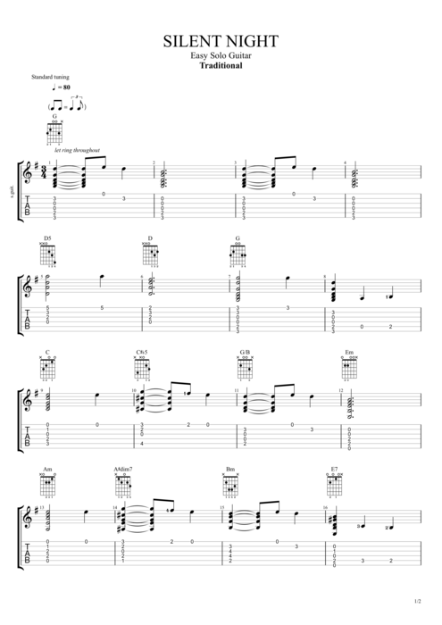 Silent Night by Traditional - Easy Solo Guitar Guitar Pro Tab ...