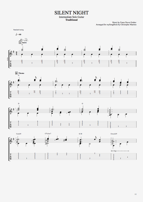 Silent Night by Traditional - Intermediate Solo Guitar Guitar Pro Tab : mySongBook.com