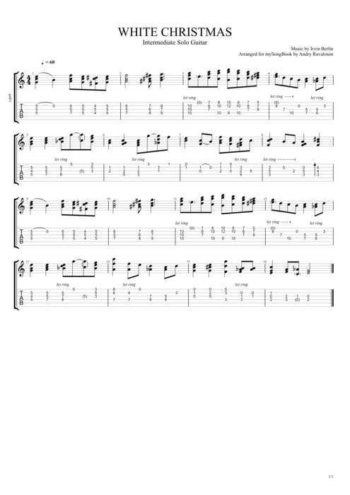 white christmas by irving berlin intermediate solo guitar guitar pro tab mysongbookcom - Who Wrote The Song White Christmas