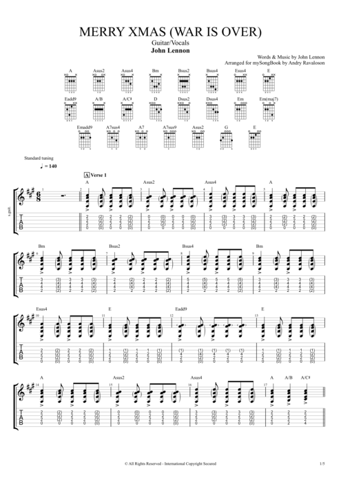 Guitar guitar tabs xmas : Merry Xmas (War Is Over) by John Lennon - Guitar/Vocals Guitar Pro ...