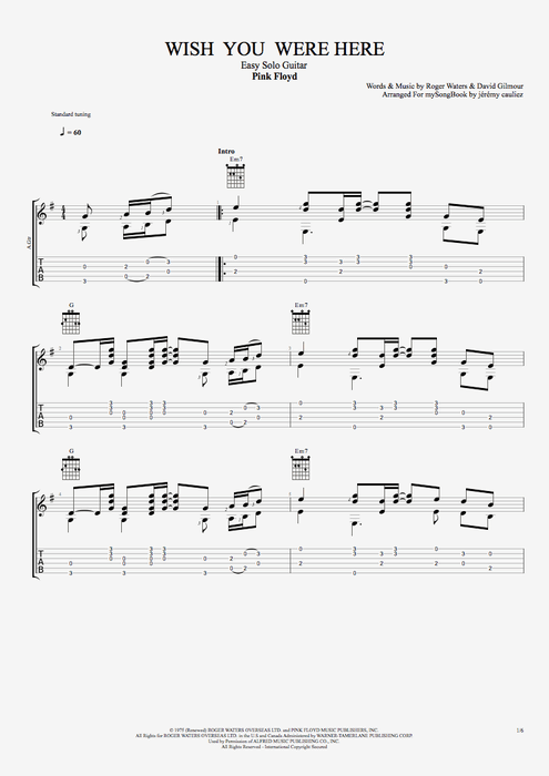 Wish You Were Here by Pink Floyd - Easy Solo Guitar Guitar Pro Tab ...