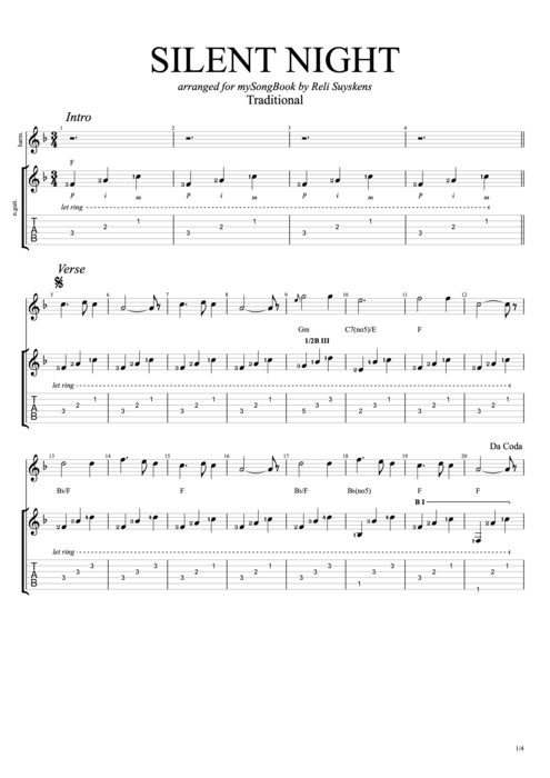 silent night by traditional guitar harmonica guitar pro tab. Black Bedroom Furniture Sets. Home Design Ideas