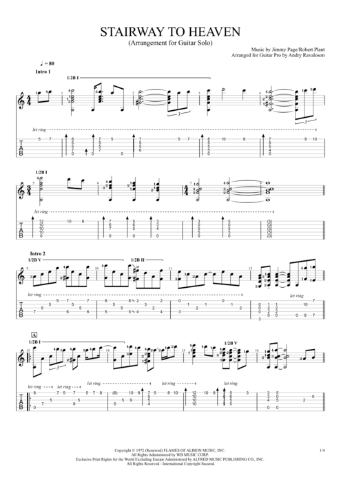 Stairway to Heaven - Led Zeppelin tablature