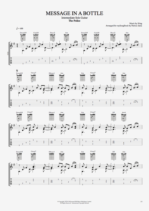 Message in a Bottle by The Police - Intermediate Solo Guitar Guitar Pro Tab : mySongBook.com