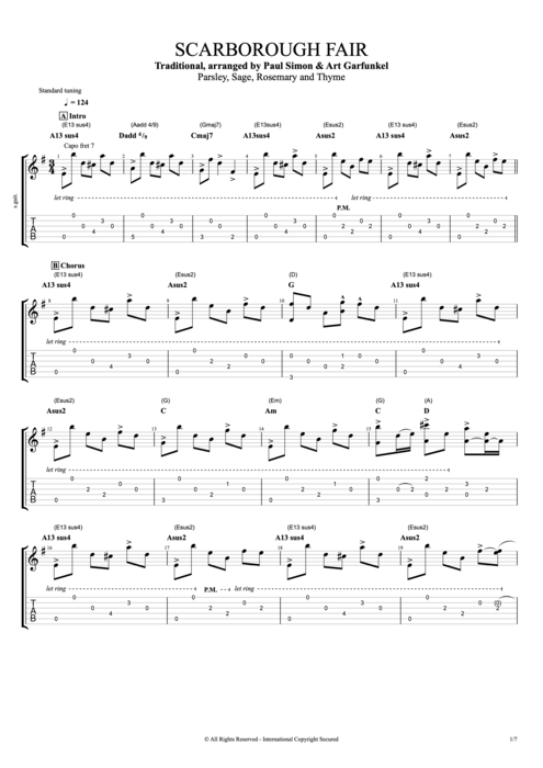 Scarborough Fair by Simon u0026 Garfunkel - Full Score Guitar Pro Tab : mySongBook.com