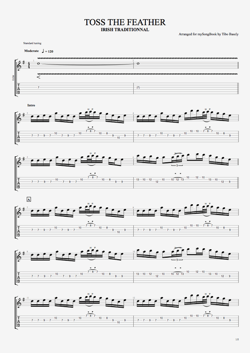 Toss the Feather by Traditional - Full Score Guitar Pro Tab ...