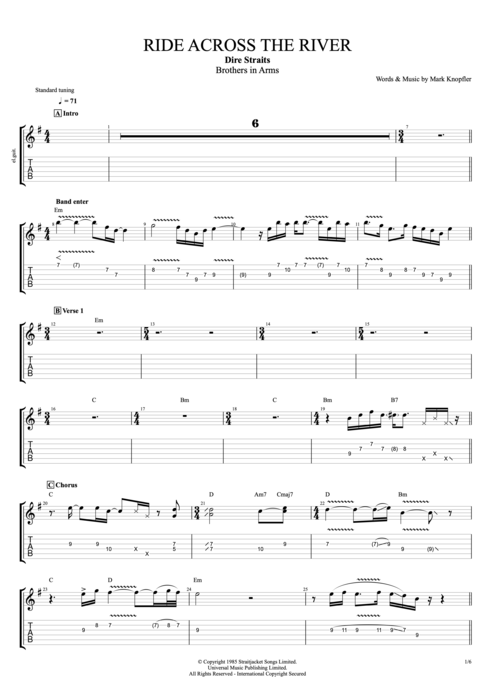 Ride Across The River By Dire Straits Full Score Guitar Pro Tab