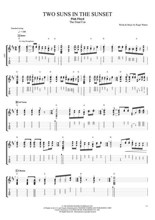 Two Suns In The Sunset By Pink Floyd Full Score Guitar