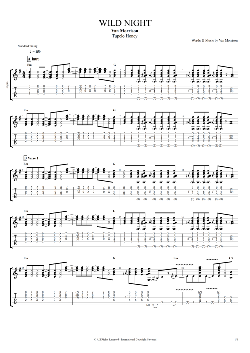 Wild Night by Van Morrison - Full Score Guitar Pro Tab | mySongBook.com