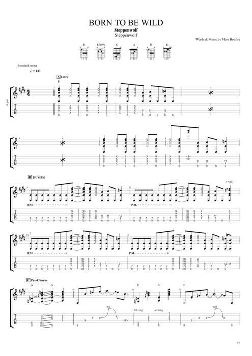 Born To Be Wild By Steppenwolf Full Score Guitar Pro Tab