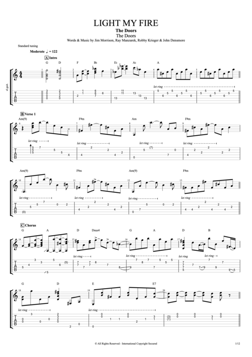Light My Fire By The Doors Full Score Guitar Pro Tab Mysongbookcom