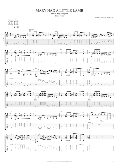 Mary Had A Little Lamb By Stevie Ray Vaughan Full Score Guitar Pro