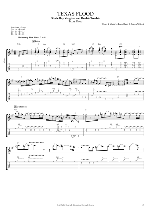 Texas Flood By Stevie Ray Vaughan Full Score Guitar Pro Tab