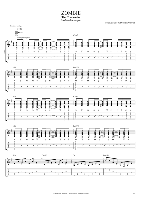 Zombie by The Cranberries - Full Score Guitar Pro Tab : mySongBook.com