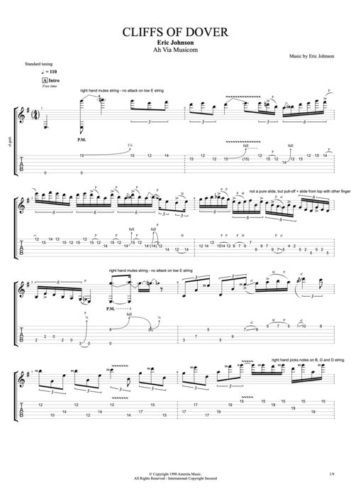 Cliffs Of Dover By Eric Johnson Full Score Guitar Pro