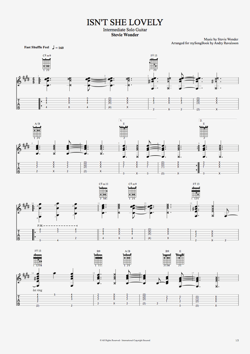 Isn\'t She Lovely? by Stevie Wonder - Easy Solo Guitar Guitar Pro Tab ...