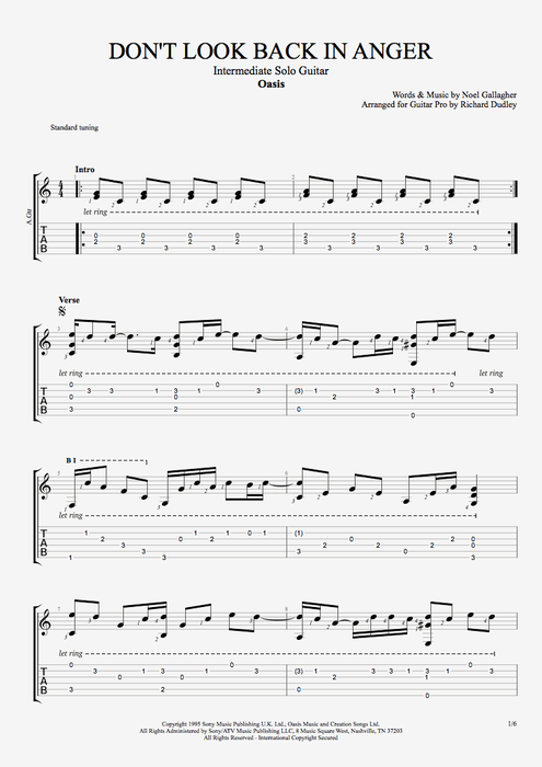 Guitar guitar tabs back in black : Don't Look Back in Anger by Oasis - Intermediate Solo Guitar ...