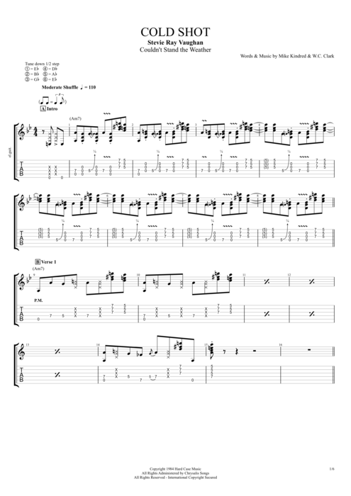 Cold Shot - Stevie Ray Vaughan tablature