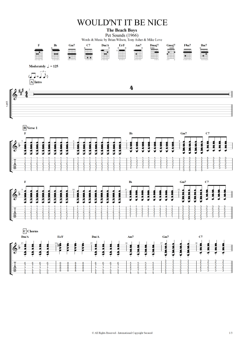 Wouldn't It Be Nice by The Beach Boys - Full Score Guitar ... - photo#6