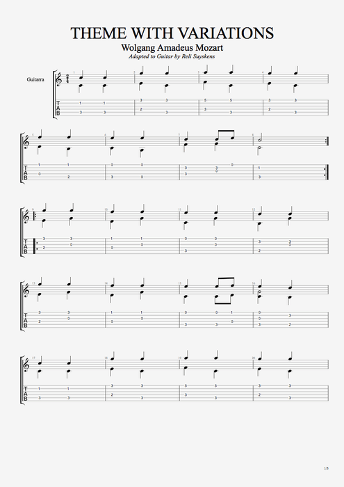 Theme With Variations By Wolfgang Amadeus Mozart Solo Guitar