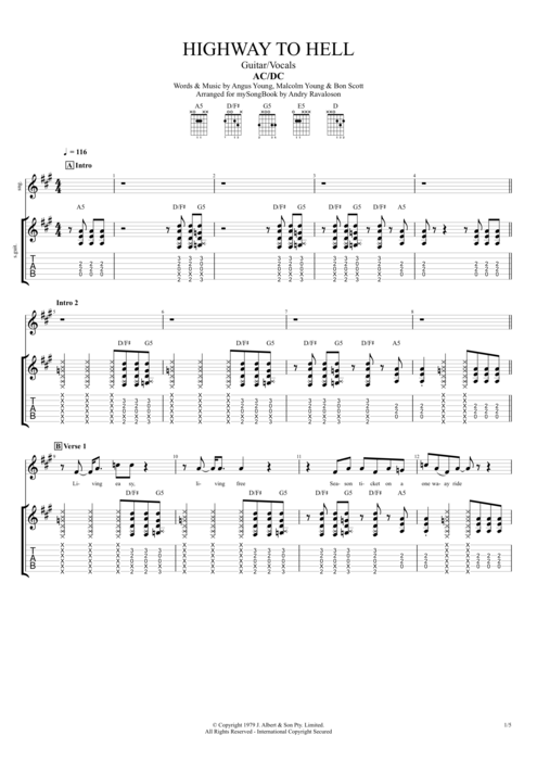 highway to hell by ac dc guitar vocals guitar pro tab. Black Bedroom Furniture Sets. Home Design Ideas