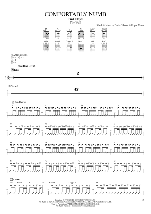 Comfortably Numb By Pink Floyd Full Score Guitar Pro Tab