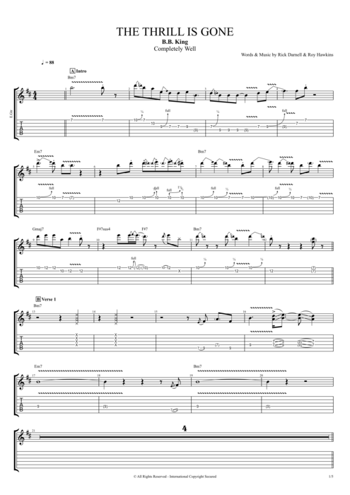 The Thrill Is Gone By B B King Full Score Guitar Pro