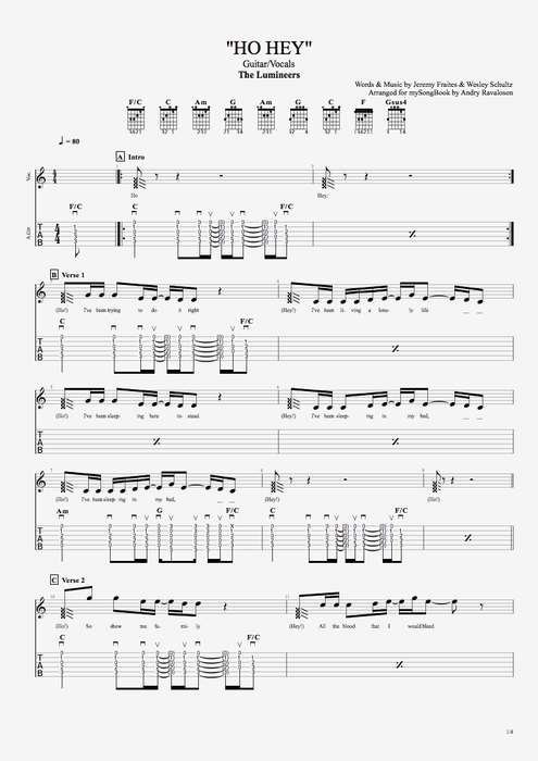 Ho Hey by The Lumineers - Guitar/Vocals Guitar Pro Tab | mySongBook.com