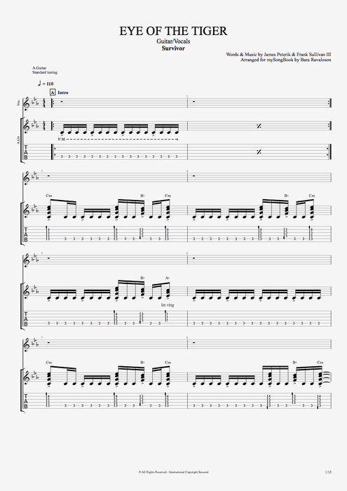 Eye of the Tiger by Survivor - Guitar/Vocals Guitar Pro Tab ...