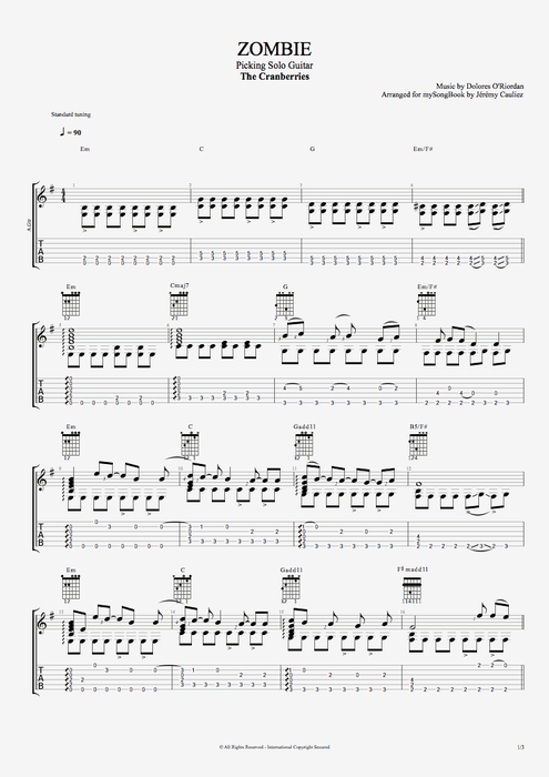 Guitar u00bb Guitar Tabs Zombie Cranberries - Music Sheets, Tablature, Chords and Lyrics