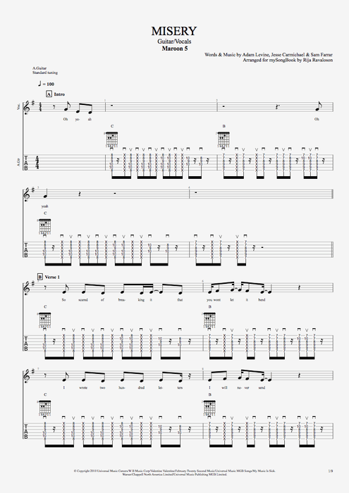 Misery by Maroon 5 - Guitar/Vocals Guitar Pro Tab ...