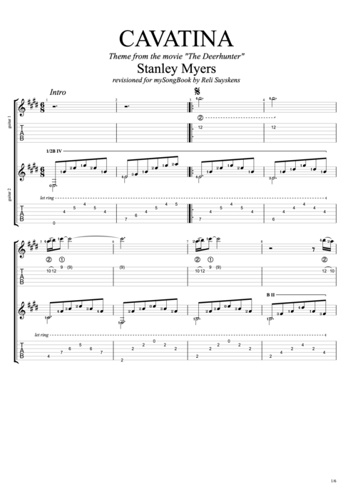 Guitar sungha jung guitar tabs : Cavatina Sheet Music Guitar Tab - cavatina sungha jung guitar tab ...