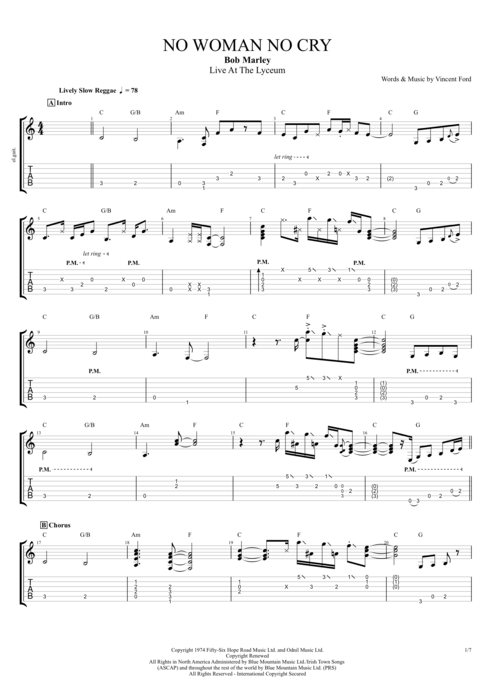 No Woman No Cry By Bob Marley Full Score Guitar Pro Tab