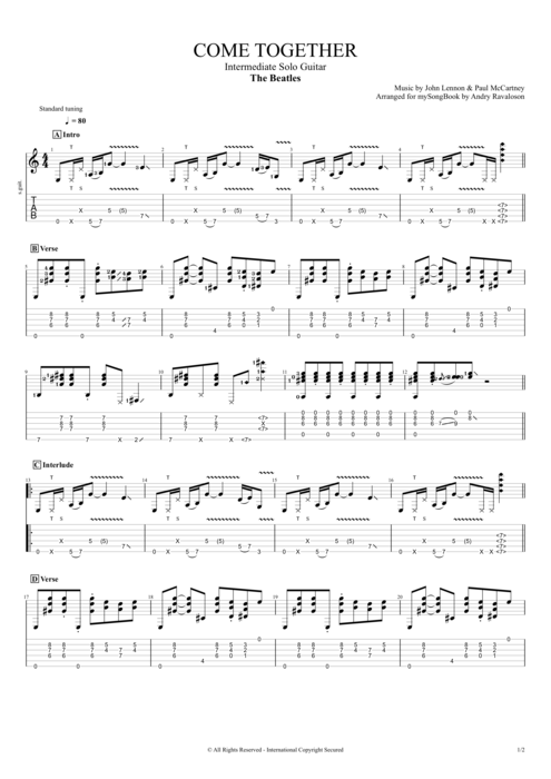 Come Together by The Beatles - Intermediate Solo Guitar Guitar Pro Tab : mySongBook.com