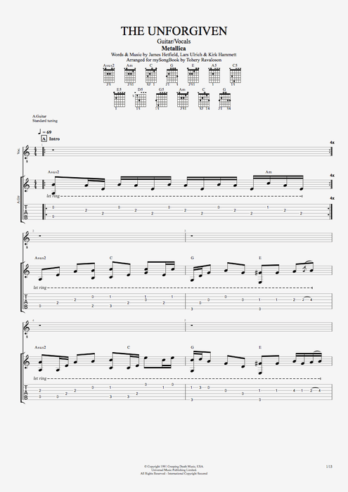 The Unforgiven by Metallica - Guitar/Vocals Guitar Pro Tab : mySongBook.com
