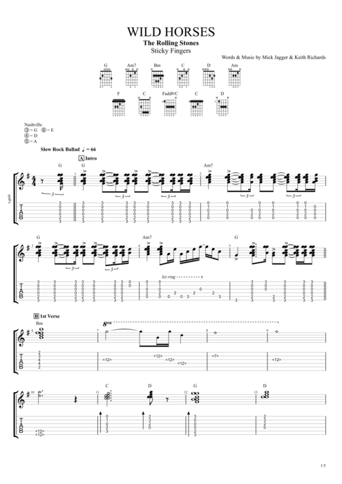 Wild Horses By The Rolling Stones Full Score Guitar Pro