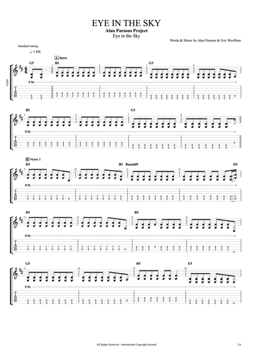 Eye In The Sky By The Alan Parsons Project Full Score Guitar Pro