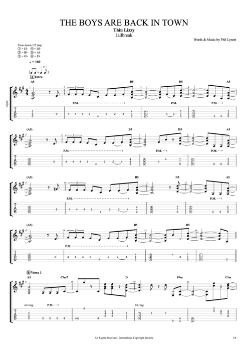 Guitar guitar tabs back in black : The Boys Are Back in Town by Thin Lizzy - Full Score Guitar Pro ...