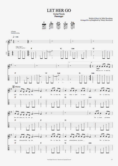 Let Her Go by Passenger - Guitar/Vocals Guitar Pro Tab : mySongBook.com