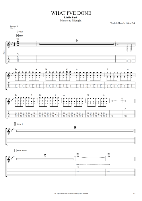 What I Ve Done By Linkin Park Full Score Guitar Pro Tab