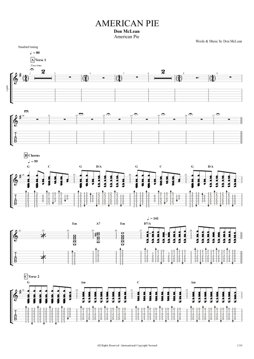 american pie by don mclean full score guitar pro tab. Black Bedroom Furniture Sets. Home Design Ideas