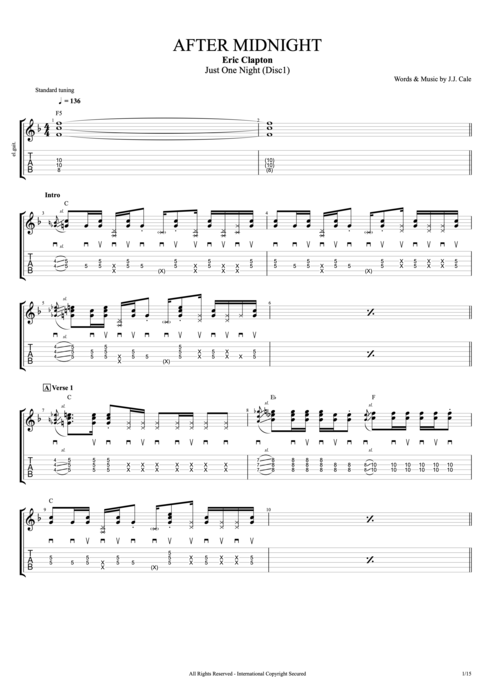 After Midnight Live By Eric Clapton Full Score Guitar Pro Tab
