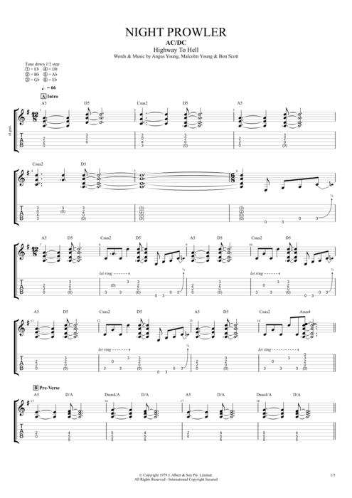 Night Prowler by AC/DC - Full Score Guitar Pro Tab | mySongBook.com