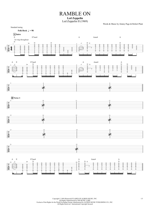 Ramble On by Led Zeppelin - Full Score Guitar Pro Tab | mySongBook.com