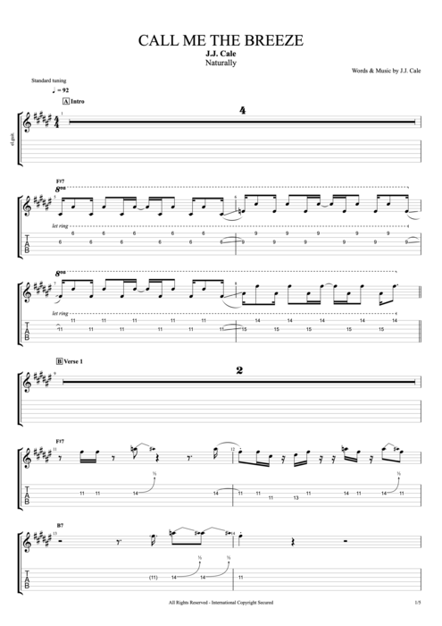 Call Me The Breeze By Jj Cale Full Score Guitar Pro Tab