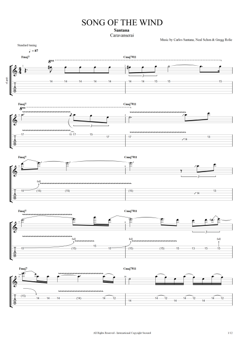 song of the wind by santana full score guitar pro tab mysongbook com